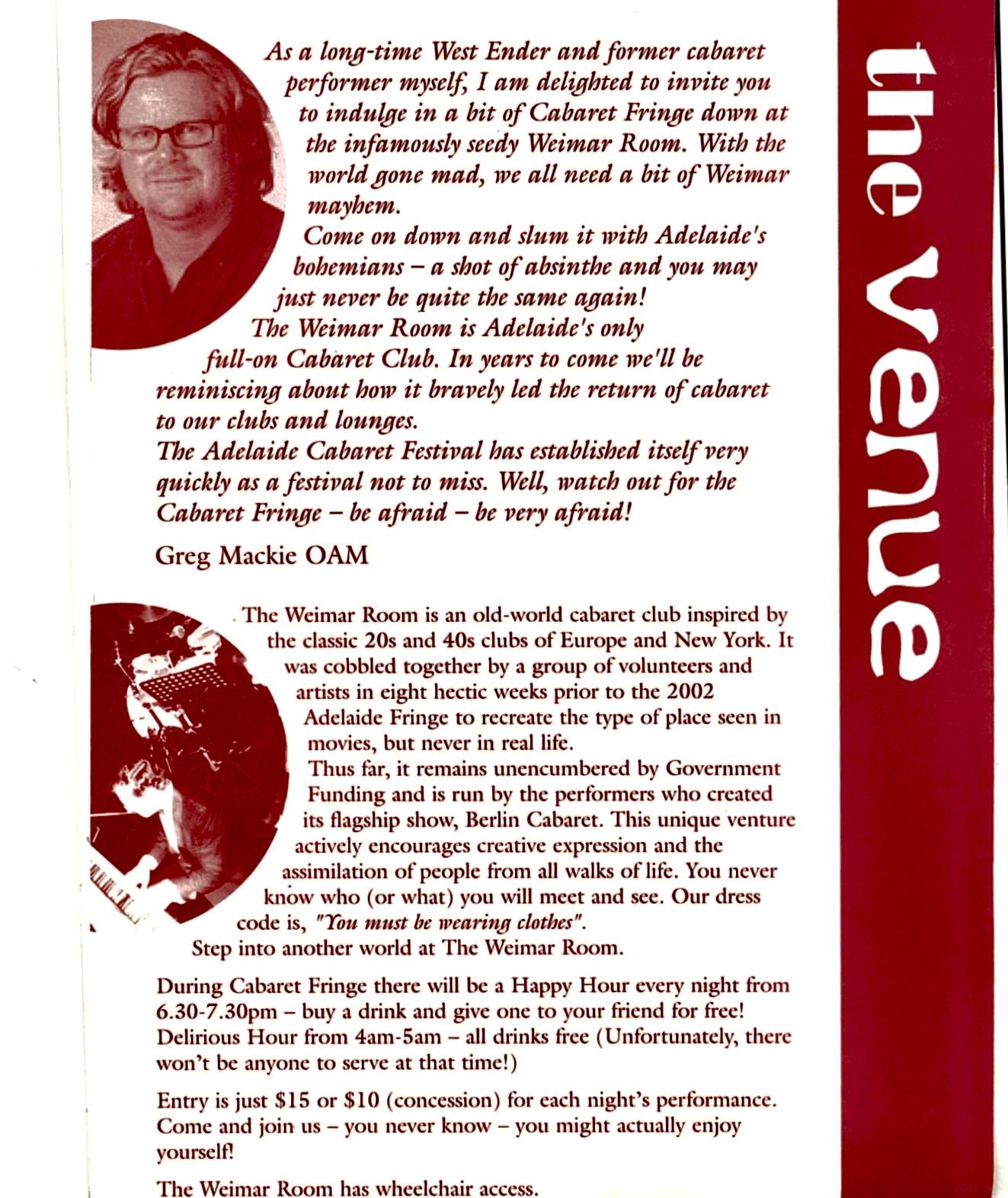 Cabaret Fringe History - opening program about page